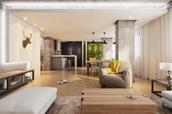 Modern hipster living room interior with wooden floor, armchair, open space with light, decoration, brick wall. Kitchen in the back, and green wall. Horizontal render. no people.