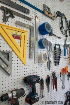 Garage space saving pegboard