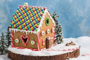 Decorating Christmas gingerbread house